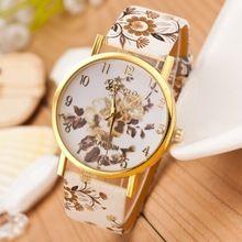 hete verkoop bloem gedrukt vrouwen horloge nieuw merk genève horloges dames casual mode lederen band horloge analoog quartz klok(China (Mainland))