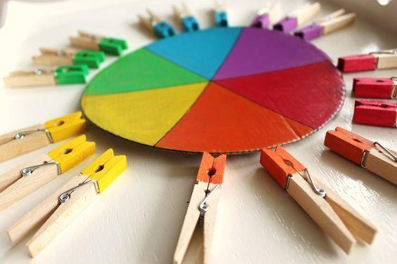 Voilà une idée d'activité simple, peu coûteuse et idéale pour développer la concentration, la reconnaissance des couleurs et la motricité fine d'un enfant dès ses 18 mois. Pour la réalisation je me suis inspirée du livre de Delphine Gilles Cotte