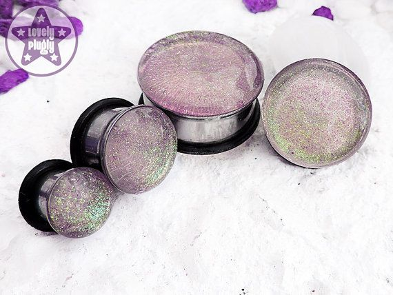 "Interference Pale Green Purple Faux Dichro Translucent Wedding / Prom Plug / Gauge ONE Plug Only 0g, 00g, 7/16"" / 8mm, 10mm, 11mm"