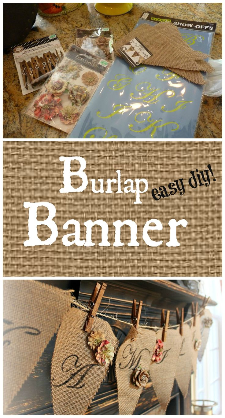 Easy diy burlap banner for your mantel. #debbiedoos