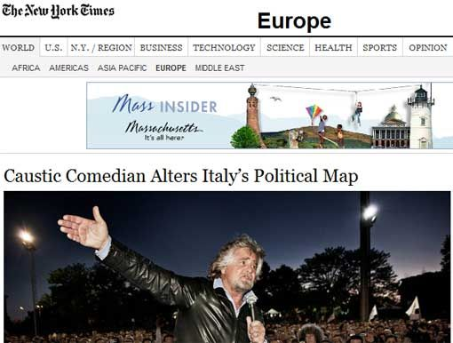 Il New York Times è venuto a Garbagnate Milanese per seguire il ballottaggio e ha dedicato al MoVimento 5 Stelle un lungo articolo. Non è una notizia formidabile? (Il NYT ogni giorno stampa un milione di copie e ha un milione di visitatori unici al suo sito)