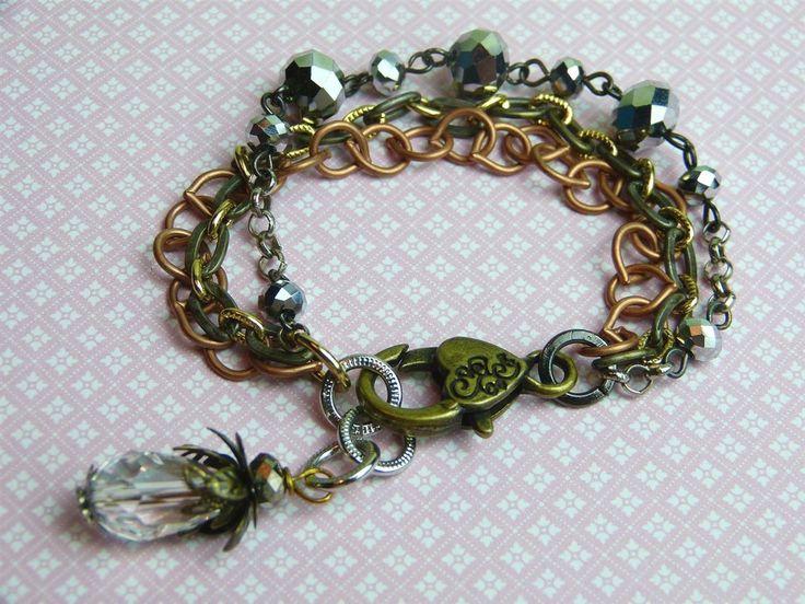 Gemengde metalen Multi-streng armband kristallen via Birdie By AnneMary Westera