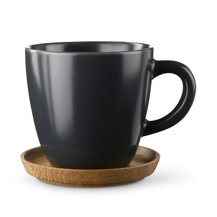 HOGANAS KERAMIK/コーヒーマグ&ウッドソーサー グレーマット 2100yen 伝統とモダンがミックスしたカップ&ウッドソーサー