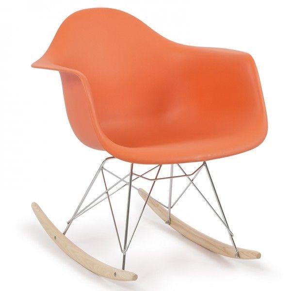 Modern Eames RAR Style Mid-Century Molded Rocking Shell Arm Chair Rocking Retro Lounge in Orange!