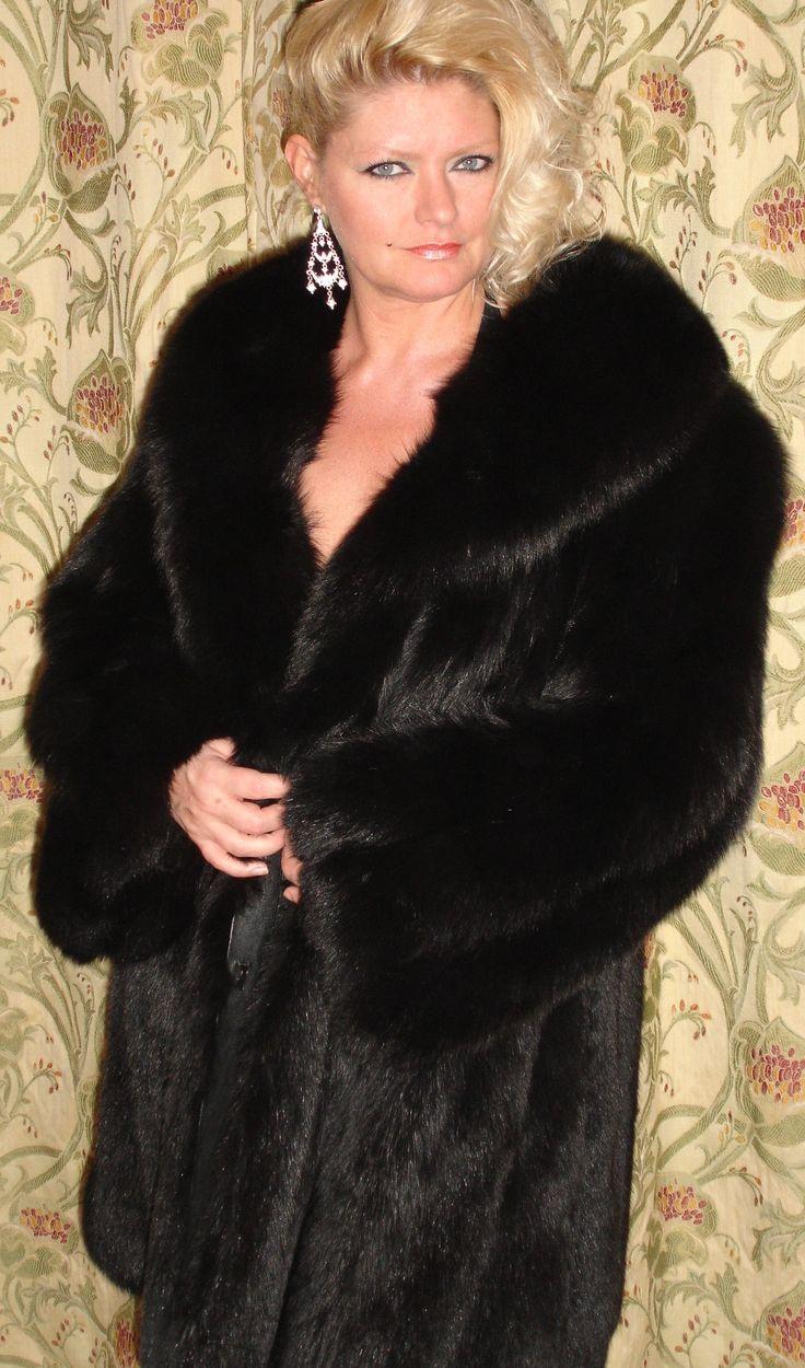 Black Fox Fur Stroller 3/4 length Fox Fur Coat. http