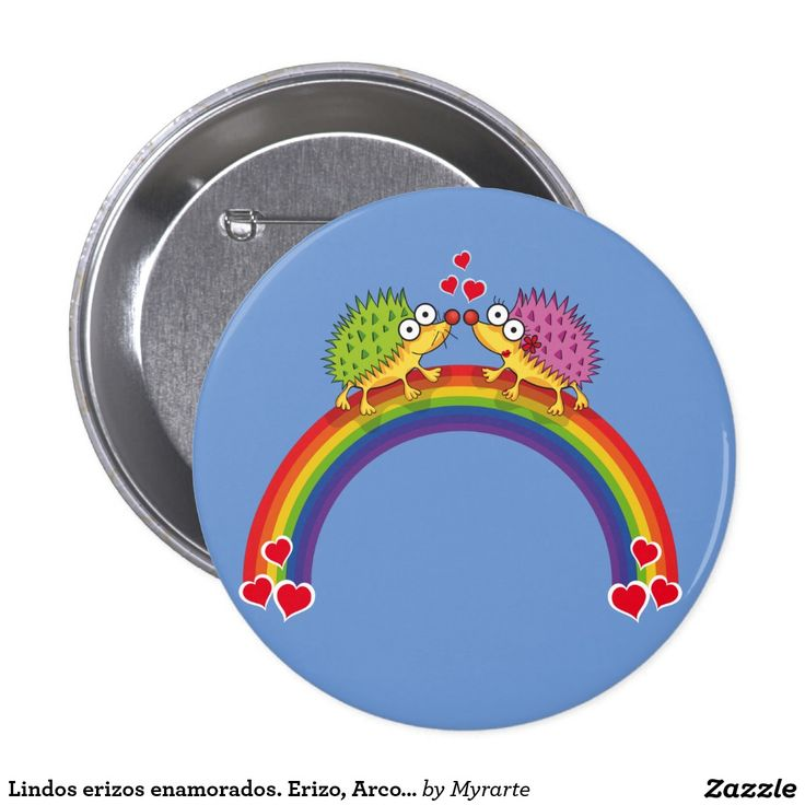 Lindos erizos enamorados. Erizo, Arcoiris. Producto disponible en tienda Zazzle. Product available in Zazzle store. Regalos, Gifts. Link to product: http://www.zazzle.com/lindos_erizos_enamorados_erizo_arcoiris_pinback_button-145006116882413187?CMPN=shareicon&lang=en&social=true&rf=238167879144476949 #chapa #button #erizo #hedgehog