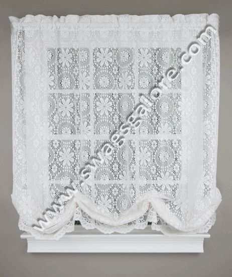 Hopewell is a classic heavy weight jacquard lace balloon shade that is scalloped along the bottom. #Sheer #Curtains