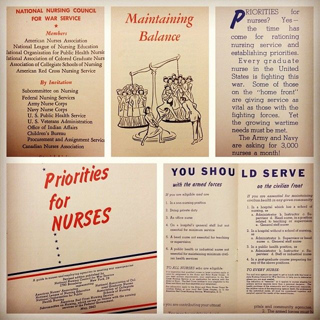 With #VeteransDay coming up, this seems like a perfect #ThrowbackThursday from our archives: WWII pamphlets from the National Nursing Council for War Service circa 1943. #nursing