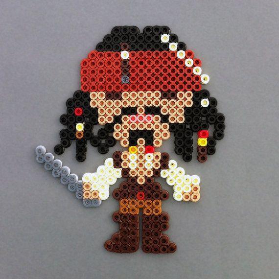 Captain Jack Sparrow Perler Bead Magnet, Pirates of the Caribbean cute
