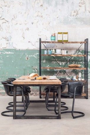 Vintage Industrial Dining Table. Smithers designer table is a beautiful addition to the home, but one that also works extremely well as a boardroom meeting table due to it's long length of three metres. Made from reclaimed hardwood and recycled steel.