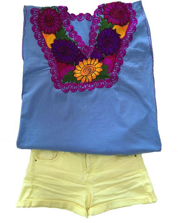 Blusa bordada mexicano hecho a mano ropa mexicana