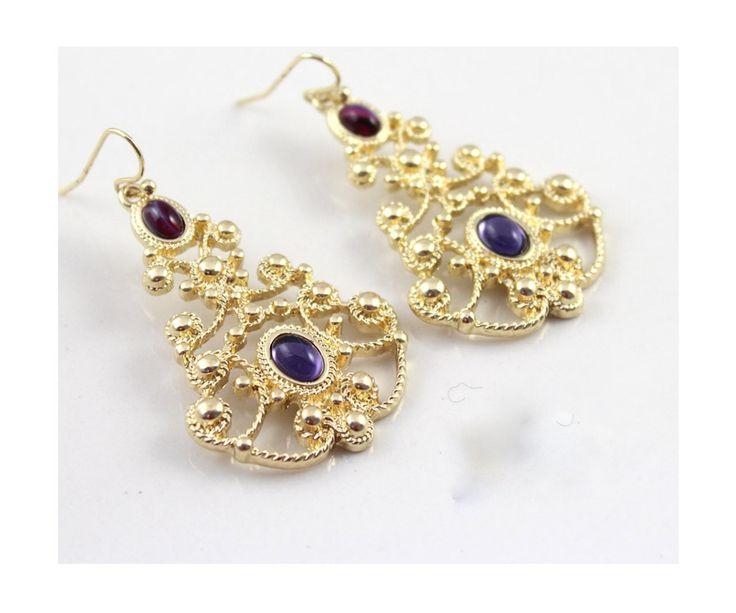 SUMNI Purple Hollow Golden Earrings 3306 - EC Chic Fashion Online Store worldwide Free Shipping