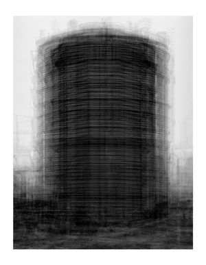 Idris Khan photo inspired by Bernd and Hilla Becher's industrial photography series.