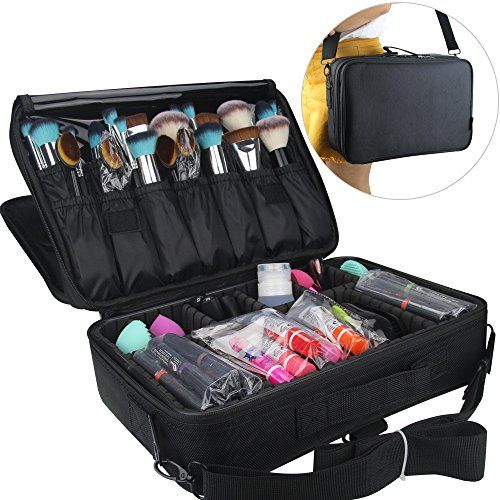 MLMSY Makeup Train Case Cosmetic Organizer Beauty Artist Brush Box with Shoulder Strap black * Find out more about the great product at the image link.