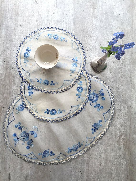 Sheer Napkins Placemats Vintage  Chiffon Placemat by woolpleasure