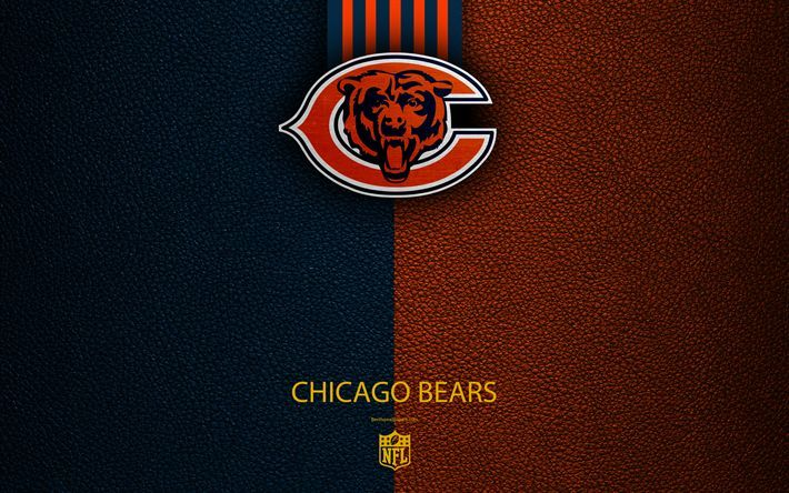 Download Wallpapers Chicago Bears 4k American Football Logo Emblem Chicago Illinois Usa Nfl Blue Orange Leather Texture National Football League Nort Chicago Bears Chicago Bears Wallpaper Chicago Bears Logo