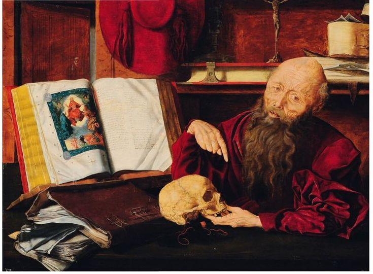 École Flamande du XVIIe siècle , Atelier de Marinus van Reymerswaele. Saint Jérôme dans son cabinet. Panneau de chêne parqueté. Inscription en bas à gauche FW. H_69 cm L_91 cm