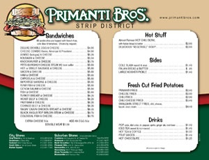 "Menu - Primanti Bros. Restaurant - Pittsburgh's ""Almost Famous"" Sandwiches - Primanti Brothers Restaurant"