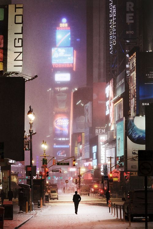 Man on Broadway, Blizzard in NYC