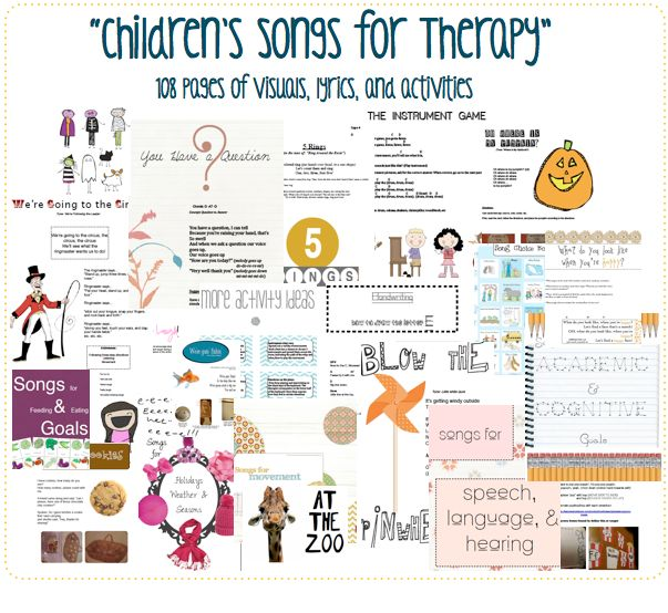 """Great resource!! """"Children's Songs for Therapy"""""""