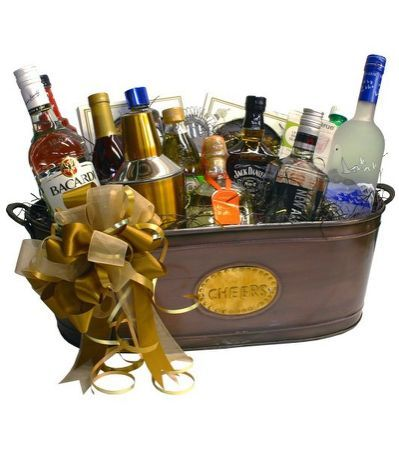 Alcohol Gift Basket With Wine