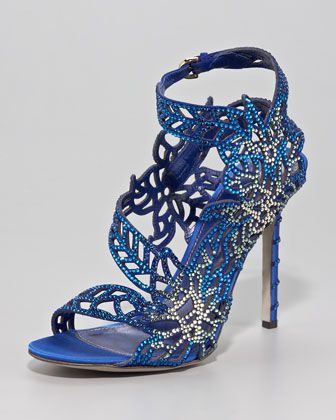 Crystallized Satin Floral Sandal by Sergio Rossi at Neiman Marcus. #NMFallTrends