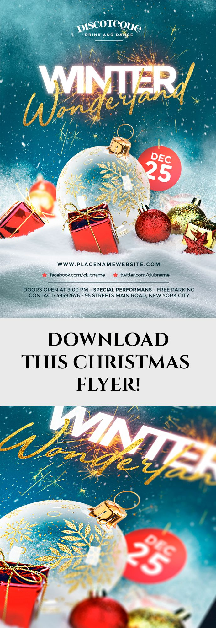 Christmas poster   backgrounds night party template december fb cover flyer gift holiday invitation #merry minimal new year nye party