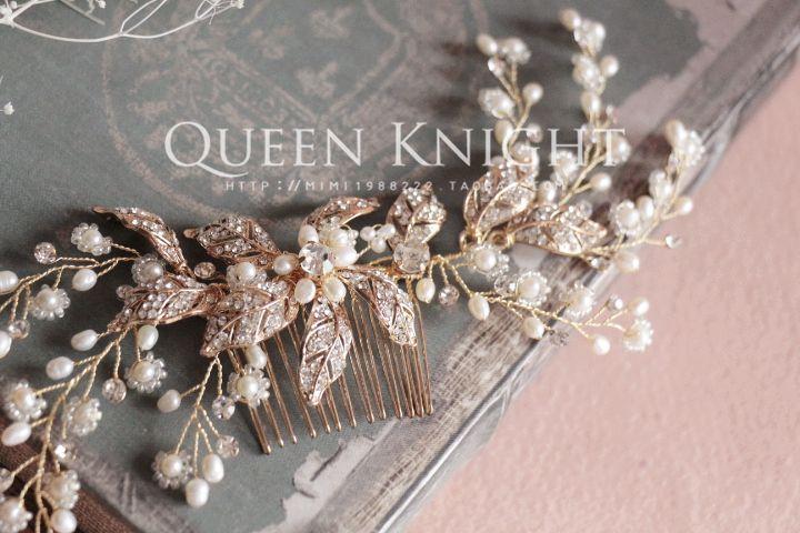 Европейские и американские именитый высокого класса ручной натуральный жемчуг виноградные листья красивые золотые волосы гребень свадебный подружки невесты - Taobao