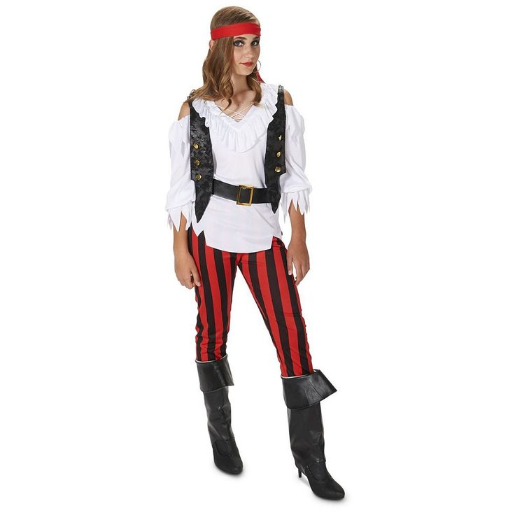 Tween Cold-Shoulder Striped Pirate Costume, Girl's, Size: 12-14, Multicolor