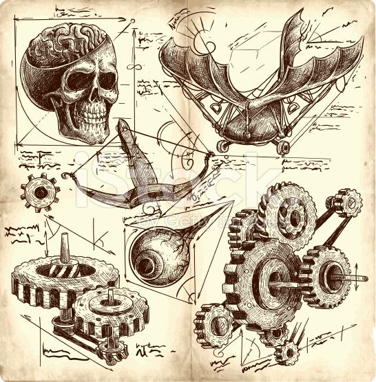 Anciens dessins Ingénierie cliparts vectoriels libres de droits