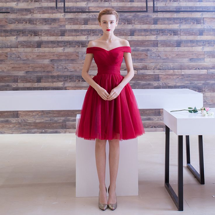 Off the Shoulder Tulle Burgundy Short Prom Dresses under $50 Cheap Graduation Party Dress Semi Formal Gown vestido curto