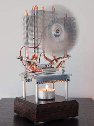 Thermoelectric Fan Powered by a Candle Better writeup than many. Looks good due to heatsink used. A Thermoelectric generator powered by a tealight. It started as an experiment of how much power I could get from one candle. But I liked the idea and it worked really well so I built this electric-mechanical ornament. I did not use a high temperature TEG-module, but instead a cheap TEC-module. That can still handle 200 degrees Celsius which is good enough.
