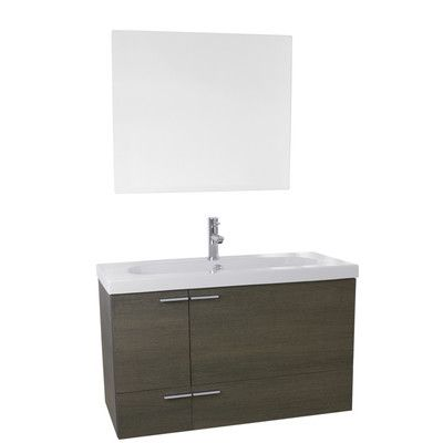 "NAMV New Space 39"" Single Bathroom Vanity Set with Mirror Base Finish:"