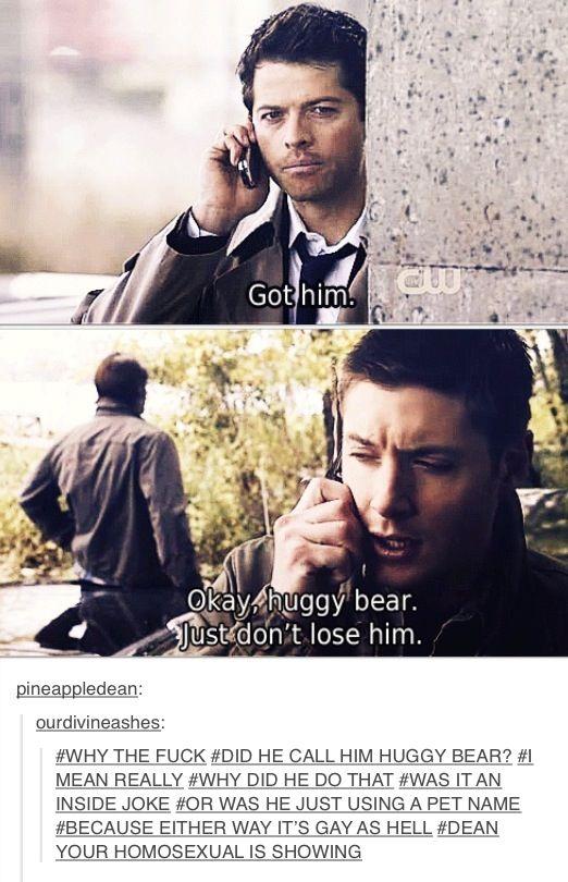 Dean Winchester & Cas<<<Because Starsky & Hutch references make Cas Huggy Bear. He's the third wheel/weird sidekick...duh