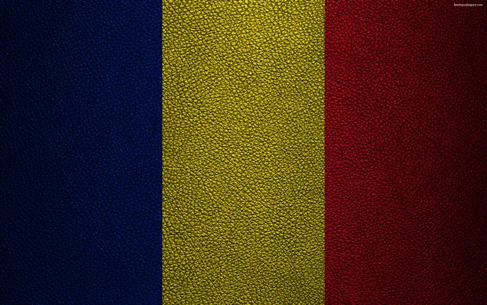 Download wallpapers Flag of Romania, 4k, leather texture, Romanian flag, Europe, flags of Europe, Romania