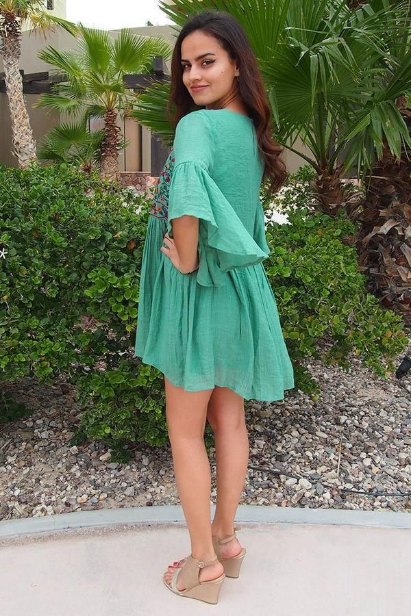 Womens Embroidered Shoulder Swing Dress Simply Be
