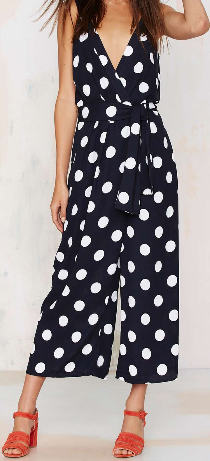 black + white polka dot jumpsuit
