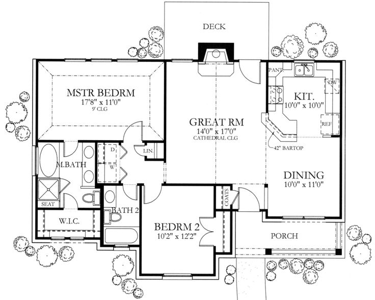 Ranch Style House Plan - 2 Beds 2 Baths 1092 Sq/Ft Plan #80-101 Floor Plan - Main Floor Plan - Houseplans.com