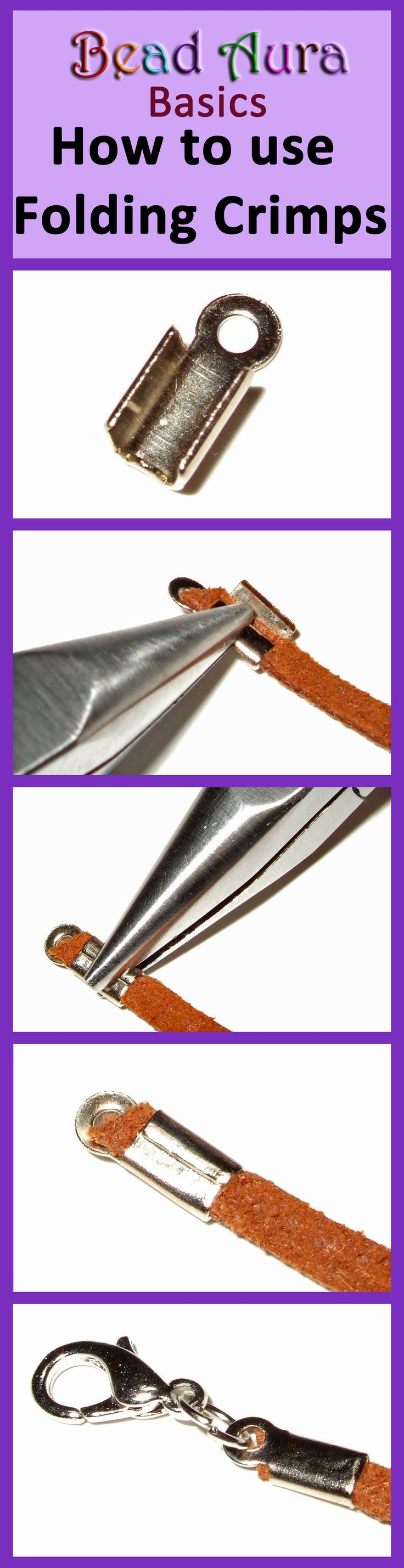 Basics to making jewellery - how to use a folding crimp. Folding crimps are used to fix your jewellery design to a clasp. They're used on thicker threads that can't fit into crimps or calottes.