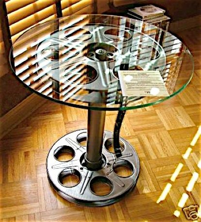 tables made out of vintage movie reals theatre room Small Home Theater Rooms Small Basement Home Theater