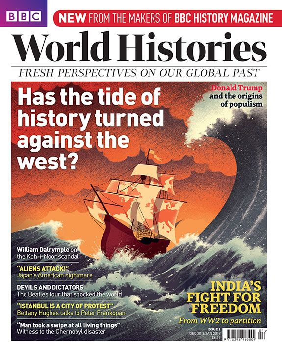 Davide Bonazzi - The decline of the west. Client: BBC World Histories. #conceptual #editorial #illustration #USA #Europe #west #western #history #colonialism #imperialism #wave #sailship #davidebonazzi