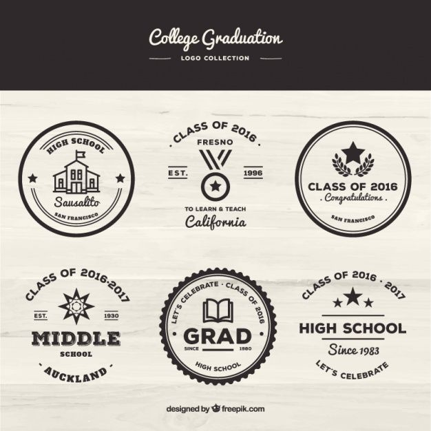 Retro collection of college badges Free Vector
