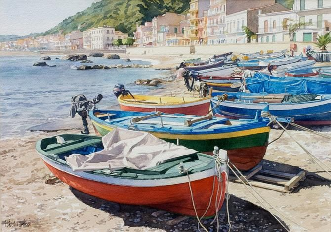 "Brian Robinson - Villagonia Sicily - watercolour - 12"" x 17"""
