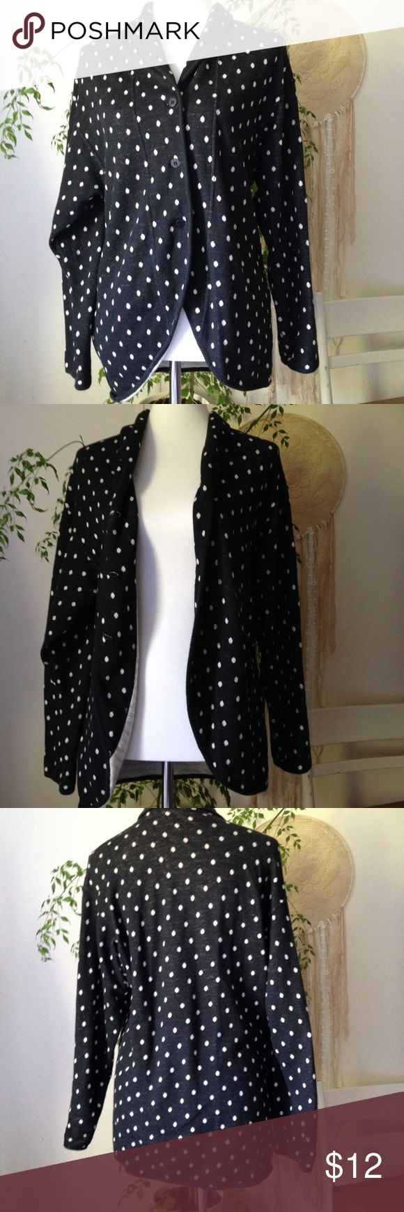 Maxstudio Basics Black&White Polka Dot Cardigan Cute cardigan for everyday outfits. Looks great open and buttoned up. Nice soft material that is not too thick. Size M 8/10 Max Studio Sweaters Cardigans