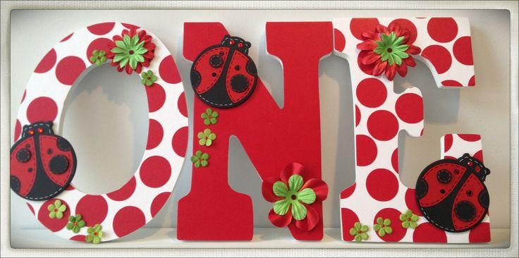 Girls Birthday Number Prop. ONE. Cake. Flowers. Red. Ladybug.  1st Birthday. One. First Birthday. Photo Prop.. $37.50, via Etsy.