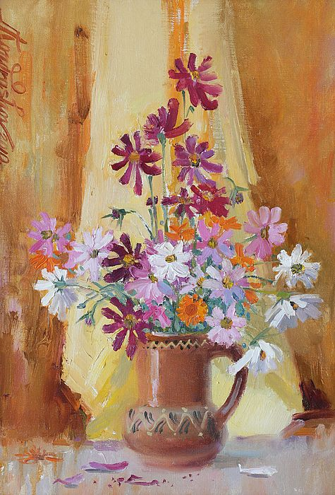 COLORFUL COSMOS FLOWERS IN VASE by ILYA KONDRASHOV.   Belongs to the GALLERY RUSSIAN ARTISTS NEW WAVE.   Oil on Canvas painting of the of the joyful colorful cosmos flowers in the vase in warm beige and brown tones.  Perfect addition to the interior of the kitchen, in corridor or in the hall painted in pastel colors.   #RussianArtistsNewWave #IlyaKondrashov #Flowers #Painting #OriginalForSale #OriginalPaintingForSale #Art #ArtForHome #PastelColors
