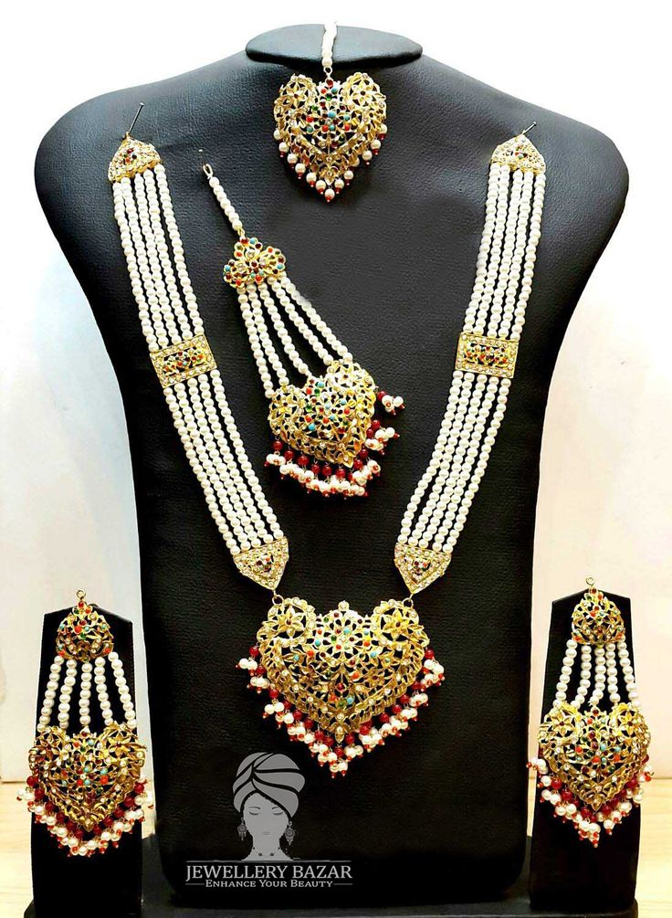 Golden Based HYDERABADI BRIDAL SET With NAURATAN Stones Studded Available in different colors &designs  CODE: PNB 004 Price: 5000 ( Cash on Delivery ) for order inbox us or CALL us at 0312-8748677 Whatsapp: 0345-2613601