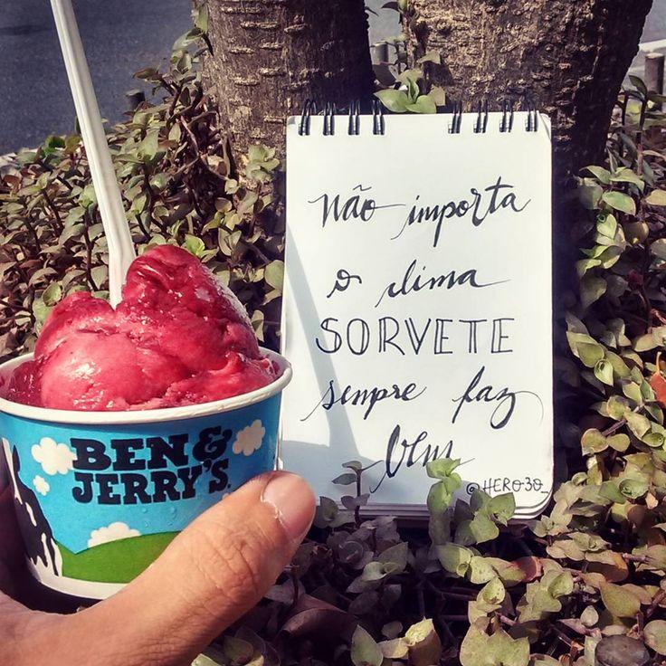 Não importa o clima sorvete sempre faz bem.