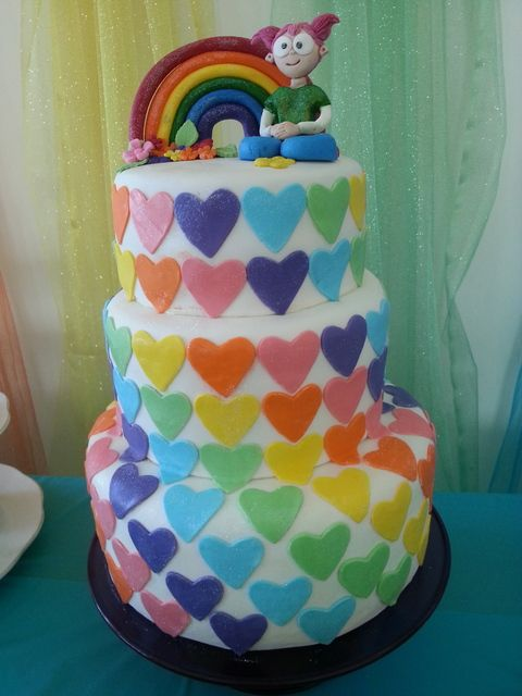 Colorful heart cake at a Rainbow party!    See more party ideas at CatchMyParty.com!  #partyideas #rainbow