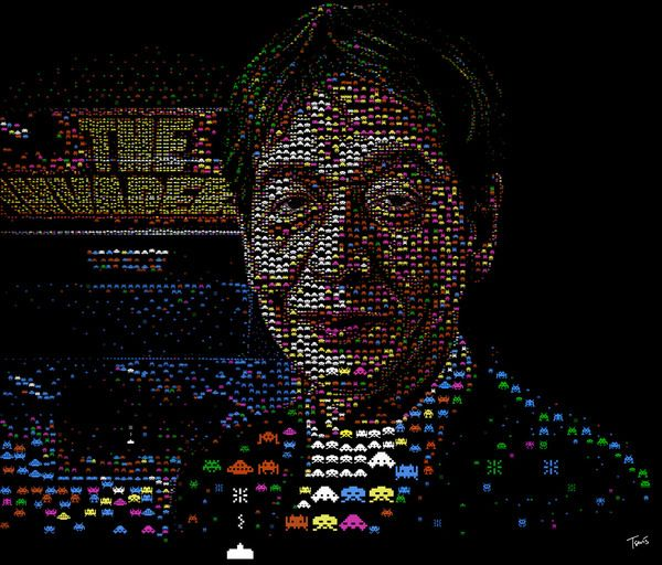 Mosaic of Tomohiro Nishikado, a legendary Japanese video game developer, created with a collection of Space Invader graphics. Source: Behance. Submitted By: Charis Tsevis